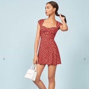 Reformation Cheri Red Floral Mini Dress